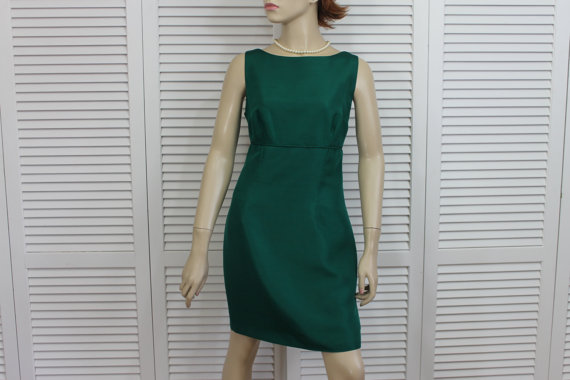 vintage green silk dress