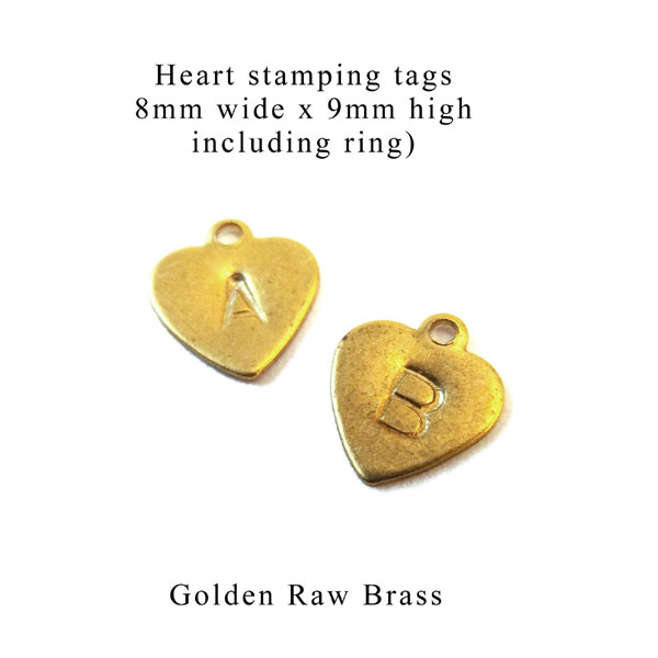 golden brass heart shaped stamping tags for personalized jewelry