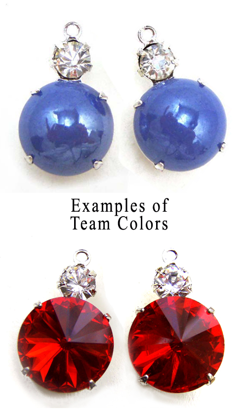 glass jewels in Kansas City team colors