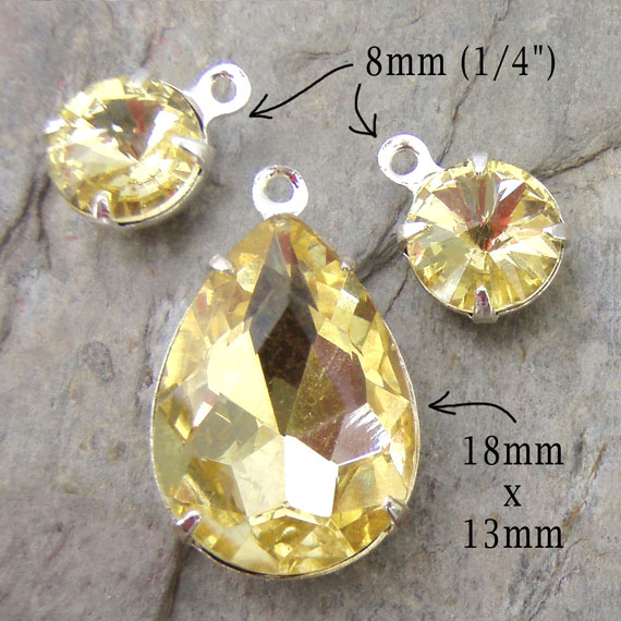jonquil yellow glass pendant earring jewels set