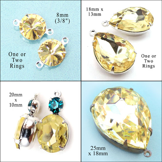 jonquil yellow glass jewels and cabochons in my Etsy jewelry supplies store