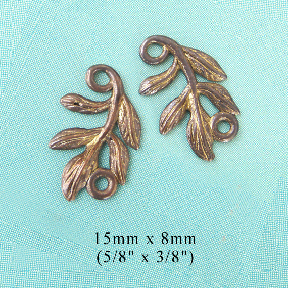 bronze finish leaf spray nature links or charms