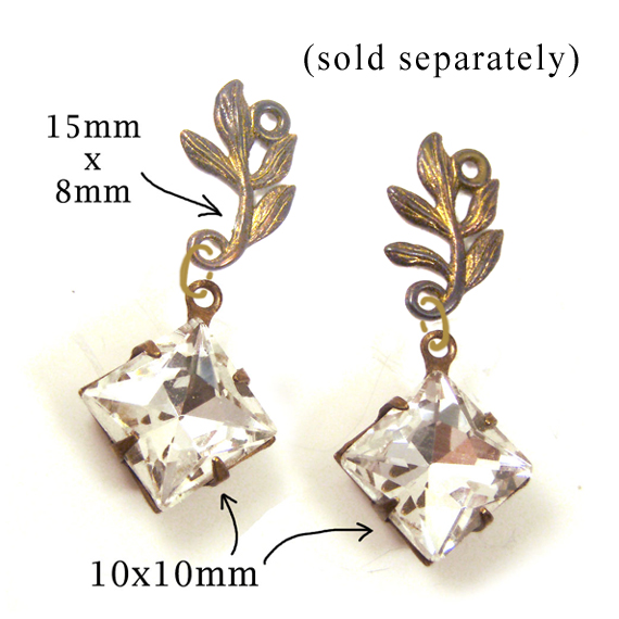 DIY earring design idea featuring leaf spray links and crystal diamond glass jewels
