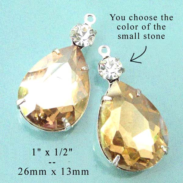 light colorado topaz teardrops paired with tiny rhinestones for DIY pendants and earrings