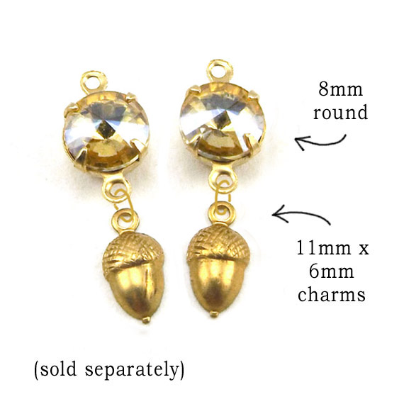 DIY earring design idea with tiny brass acorn charms and golden tan rhinestone jewels
