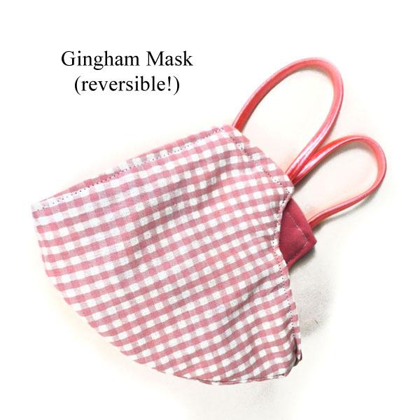 pink gingham handmade mask