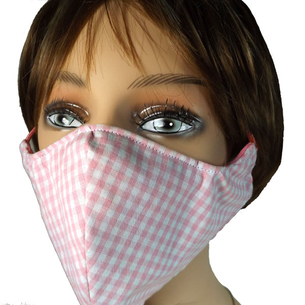 gingham handmade mask, shown here on a mannequin