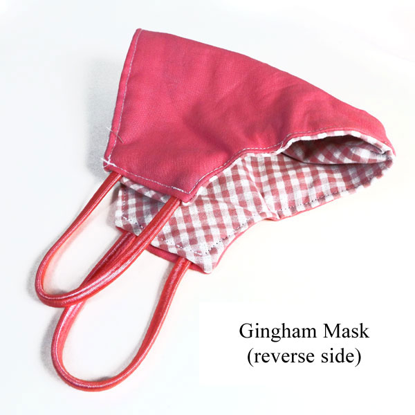 reverse side of the gingham mask made by Lacy Monogramming