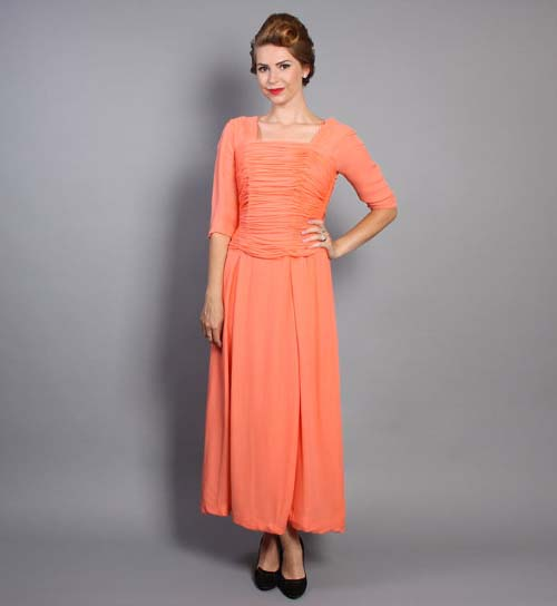 Melon peach vintage dress at Lucky Dry Goods vintage shop on Etsy