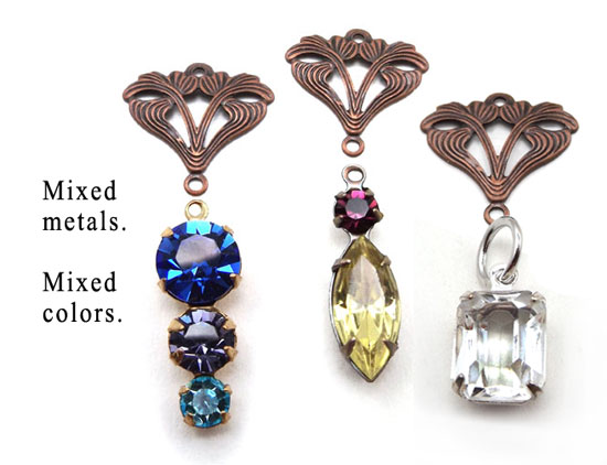 mixed jewel colors and mixed metals - DIY earring ideas