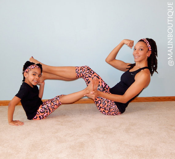 Mommy and Me activewear leggings from Malin Boutique on Etsy
