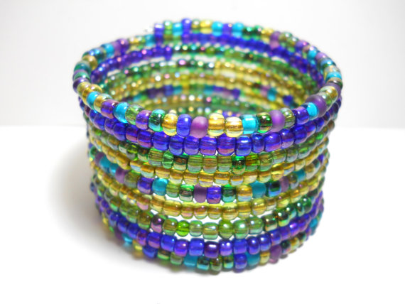 blue green and purple wrap bracelet from wrappedandsnapped on Etsy
