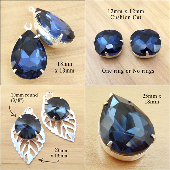 navy blue or montana sapphire glass jewels