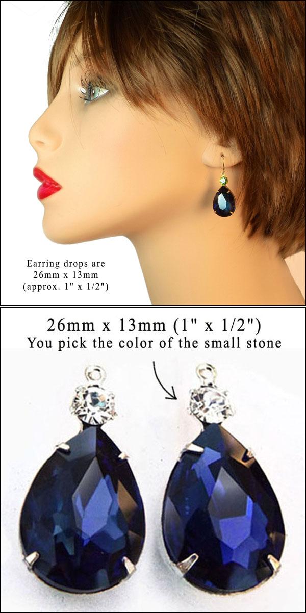 black diamond glass jewels for DIY jewelry