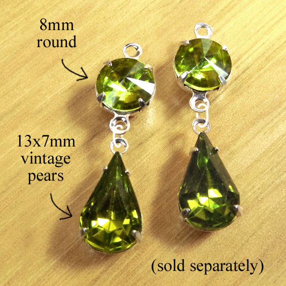 DIY earring design featuring olivine rivoli faceted round glass jewels paired with olivine vintage teardrops