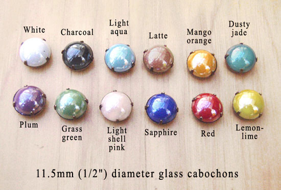 opaque glass cabochons in many colors