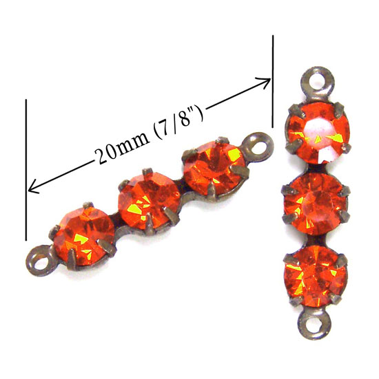 hyacinth orange rhinestone connectors