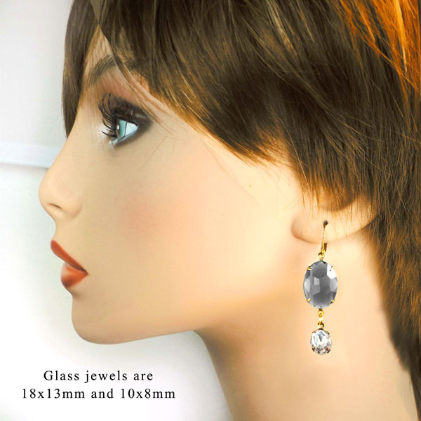 oval glass gems used in new, classic earrings