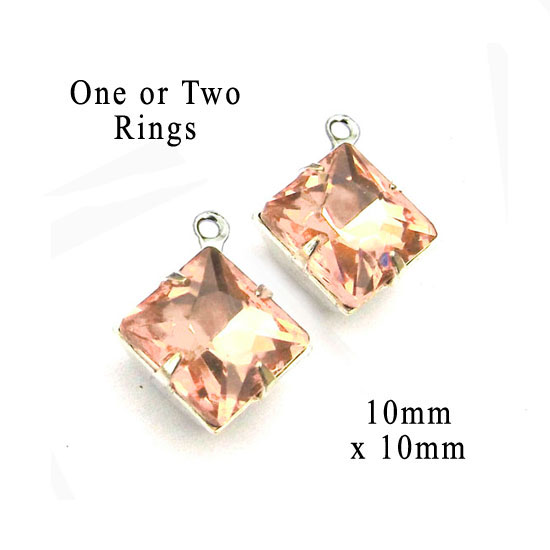 peach faceted diamond shape rhinestones