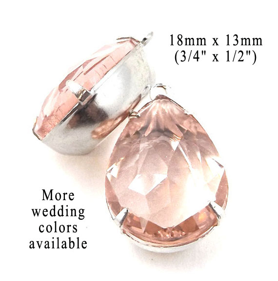 sheer peach rhinestone teardrops for earrings and pendants