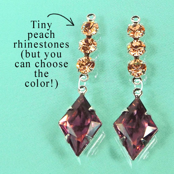 DIY earring design idea featuring amethyst vintage glass jewels and tiny peach rhinestones