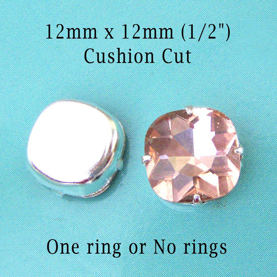 peach cushion cut glass jewels at weekendjewelry1 at etsy
