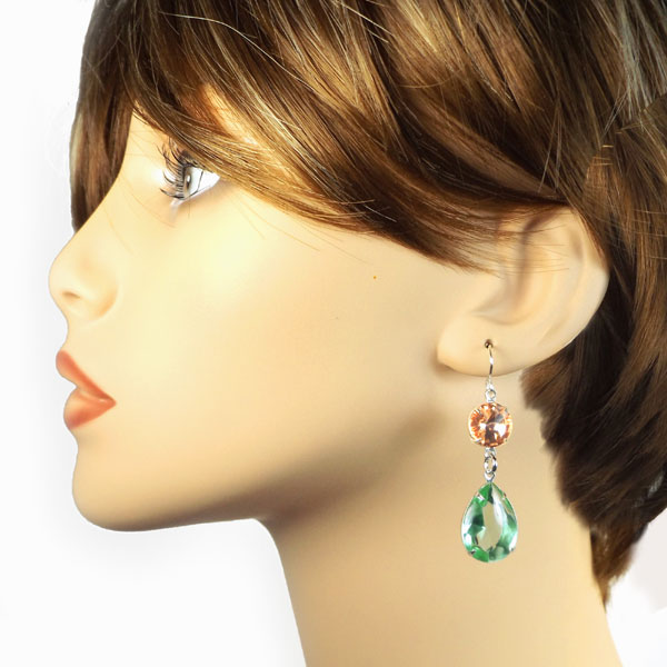 peridot and peach crystal earring design idea