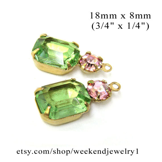 peridot green and pink rhinestone jewels for Easter earrings