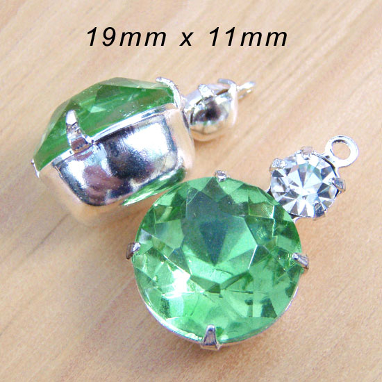 peridot green and crystal rhinestone two jewel earring charms in my Etsy shop