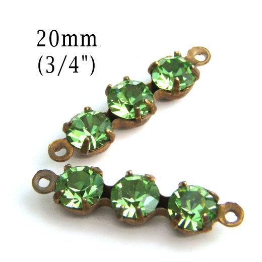 peridot green glass bead connectors