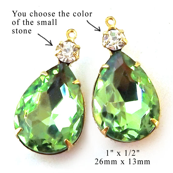 peridot green glass teardrops with tiny rhinestone jewels for DIY earrings or pendants
