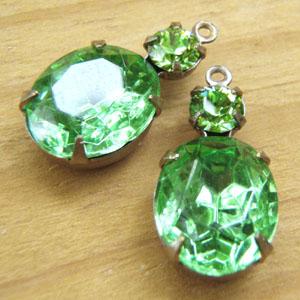 Peridot Vintage Rhinestone Charms with Swarovski Crystals