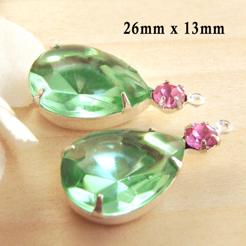 Peridot green and pink vintage glass jewel combo in my Etsy jewelry supplies store
