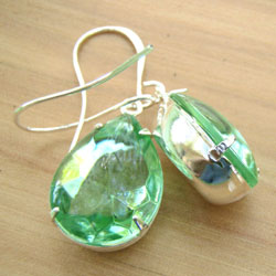 Peridot Rhinestone Teardrop Earrings