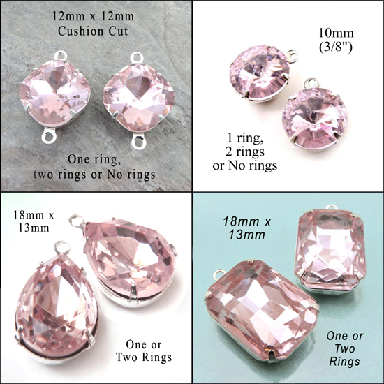 light pink glass gems and jewels in my jewelry supplies shop