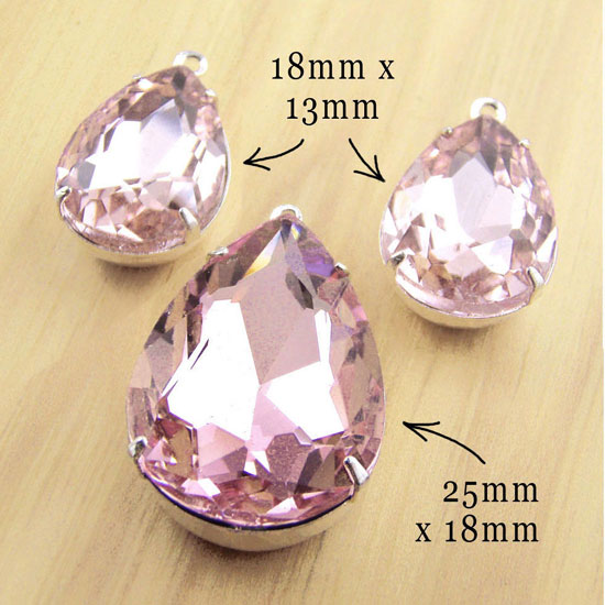 pink glass teardrop jewels set