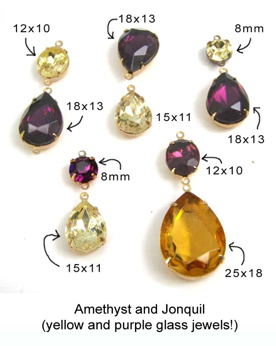 amethyst and jonquil... purple and yellow glass jewels