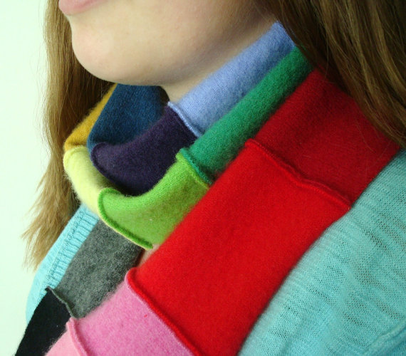 recycled cashmere sweater scraps into scarf