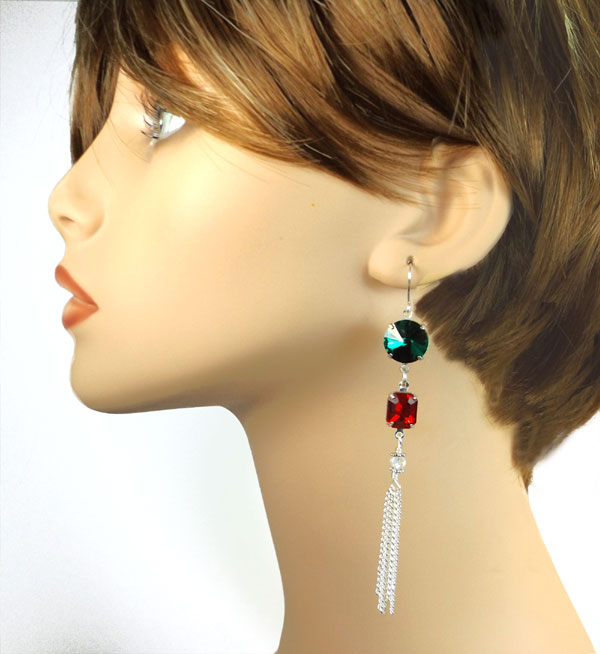 red and green earrings design idea