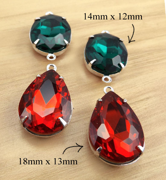 red and green glass cabochon jewels