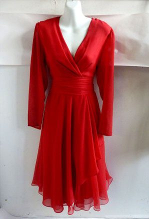 Closeup of red chiffon vintage party dress