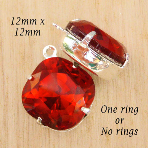 siam red cushion cut glass bead jewels