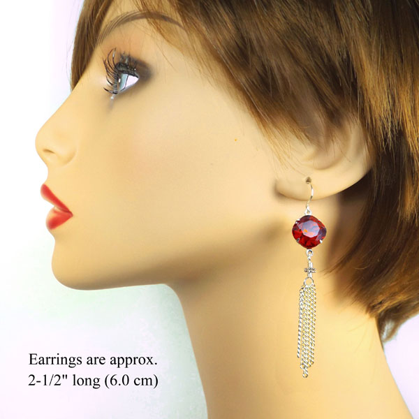 Christmas earring design idea featuring red cushion cut octagon jewels and silver plated brass chain