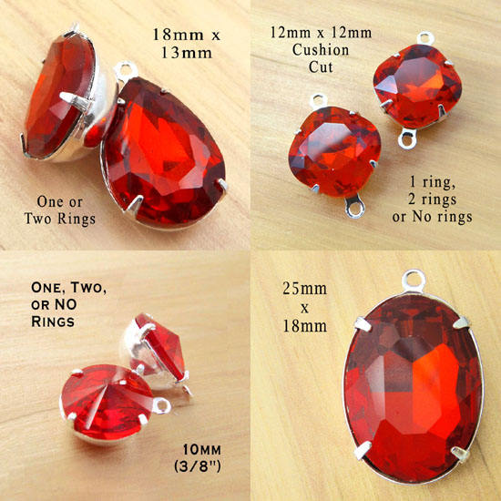 red glass beads and jewels including cushion cut octagon beads, teardrop earring jewels, large red oval pendant jewels, and pretty rivoli connector beads or stud earring jewels
