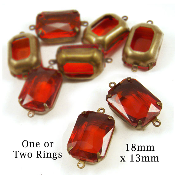 light siam red glass octagon jewels