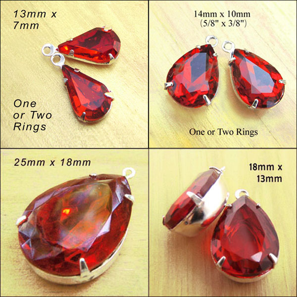 red glass pear or teardrop shape jewels in my shop right now - and there are more too