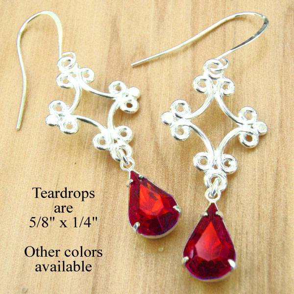red glass teardrop and silver filigree earrings