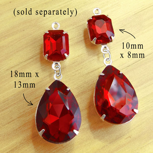 faceted red glass octagons and teardrops are combined in this DIY earring design idea