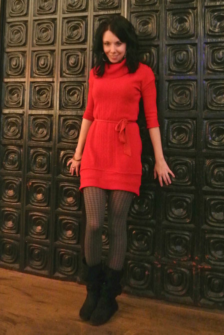 red sweater dress - the After pic