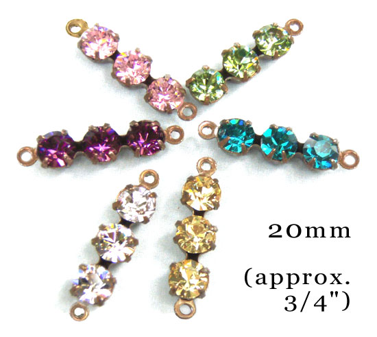 Six colors vintage style glass jewel connectors